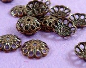 50 Copper Bead Caps Antique Brass Fancy, 8mm - 50 pc - 3626-11