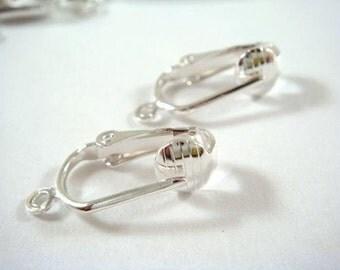 24 Silver Clip On Earrings Pierced Look Wire Silver Plated - 24 pc - F4067EW-S24