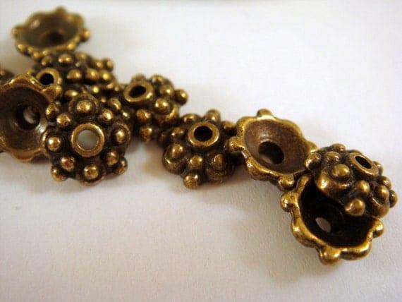 25 - 8mm Antique Bronze Beadcap Tibetan Style LF - 25 pc - F4023BC-AB8mm25