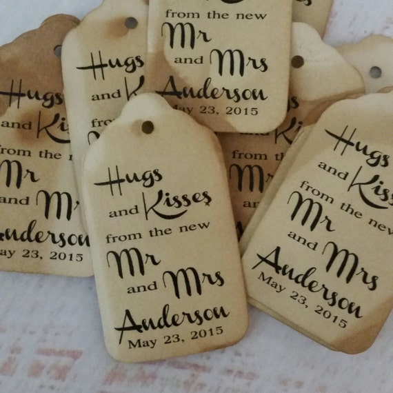 Hugs and Kisses Personalized with last name and date Wedding Favor Tag  choose your amount