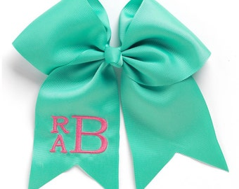 Monogram Hairbow, Personalized Hairbow, Mint Hairbow, Embroidered Hair Bow, Preppy Hairbow