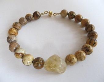 Mens Bracelet, Jasper With Citrine Nugget, Gift For Him, Sale