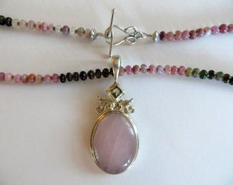 Natural Tourmaline Necklace With Large Gemstone Pendant, Rose Quartz, Gift For Mom