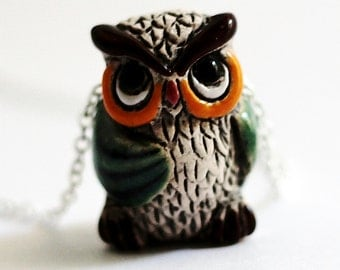 Owl Necklace Owl Jewelry, Green Swarovski Crystals, Cute Owl Owl Pendant, Wise Old Old Owl, Bird Necklace, Ceramic Animal Charm by Hendywood