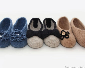 CROCHET PATTERN - Simply Felted Ballet Flats - Instant Download (PDF)