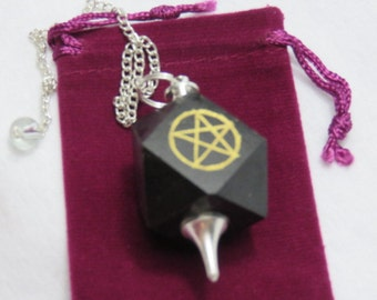 BLACK AGATE PENTACLE Pendulum Dowsing Divination Tool Pendulum Healing Crystal Healing Stone Reiki Chakra Spiritual Meditation