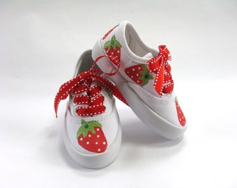 Strawberry Shoes, Hand Painted Canvas Sneakers, Strawberry Outfit, First Birthday Party, For Baby or Toddler