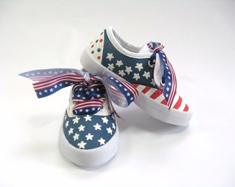 Patriotic Shoes, 4th of July American Flag Sneakers, Red, White and Blue Shoes, Hand Painted Toddler Size 10 Only