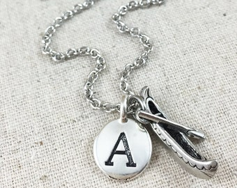 Canoe Charm Necklace, Personalized Canoe Necklace, Monogrammed Initial Jewelry, Personalized Gift, Silver Canoe Charm, Boat Charm