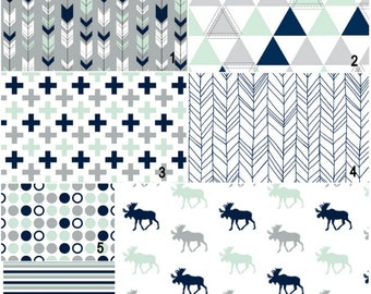 Mint and navy moose and geometrics Custom Modern Crib Bedding set - create your own set
