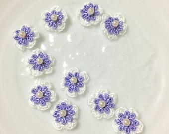 Crochet Flower / Flower Parts / Flower Cabochon --- Lavender