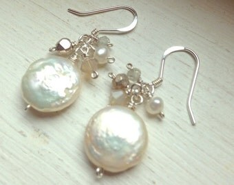 White coin pearl sterling silver earrings