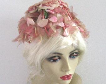 pink petal head . pink blossom hat . pink floral hat