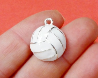4, Enamel Volleyball Charms 17x21x7mm, Hole: Approx. 2mm