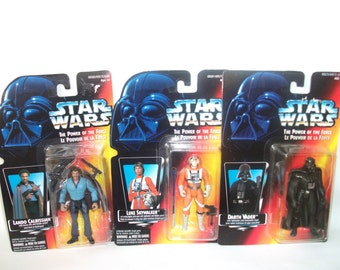 Vintage Star Wars Power of the Force Luke Skywalker Darth Vader Lando Calrissian MINT Action Figures 1995