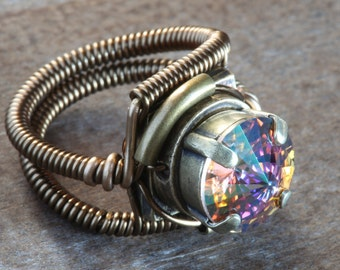 Steampunk Jewelry - RING - Purple Haze Swarovski Crystal