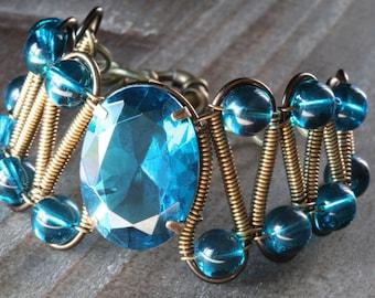 Steampunk Neo Victorian Jewelry - Bracelet  - Dark Aqua Glass faceted jewel