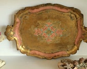 Paper Mache Italian Florentine Pink and Gold Tray