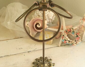 Ornate Victorian Brass Hand Towel Stand - Made in Japan - Jewelry or Bath Hand Towel Holder Andrea by Sadek Bathroom