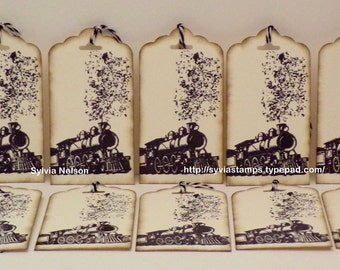 Old Fashioned Train Tags...set of 10 Tags..Antique distressed tags...gift tags...journal tags...scrapbooking...Birthday tags...hand stamped!