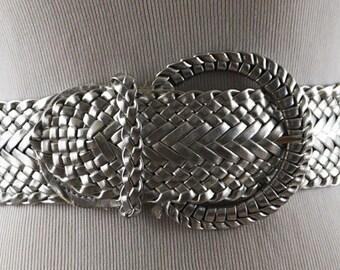 Vintage Silver Vinyl Weave Belt