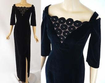 Vintage 1980s Formal Gown Black Velvet Off The Shoulder by House of Bianchi B38 W28