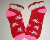 Girls Valentine Socks - Crochet Top Socks - Cupid Sock - Red White Pink Socks - Stretchy Socks - Valentines Day Accessory - Size 6 to 8