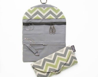 Jewelry Roll. Travel Gifts for Women. Grey Green Chevron Travel Jewelry Organizer. Jewelry Case. Hanging Jewelry Holder. Gifts under 50