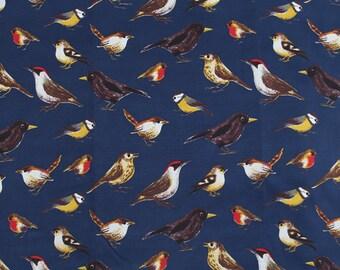 4139 - Birds (Dark Blue) Stretchy Cotton Fabric - 53 Inch (Width) x 1/2 Yard (Length)