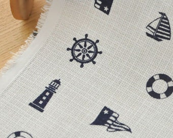 4178 - Japanese Sailboat Lighthouse Anchor Cotton Fabric - 59 Inch (Width) x 1/2 Yard (Length)