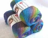 Unforgettable GOSSAMER yarn, Red Heart Boutique,  royal lime violet mauve variegated worsted weight