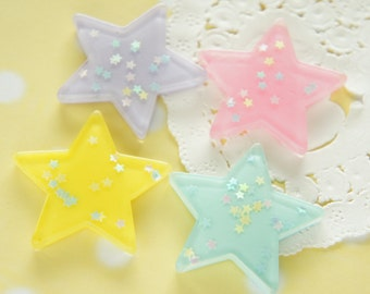 8 pcs  Holographic  Big Star Cabochon (35mm) Light Pink Set DR547 (((LAST)))