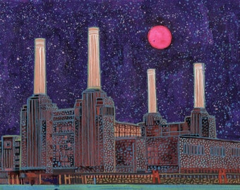 Battersea. A limited edition, numbered and signed A4 print from an Original Painting by Richard Friend