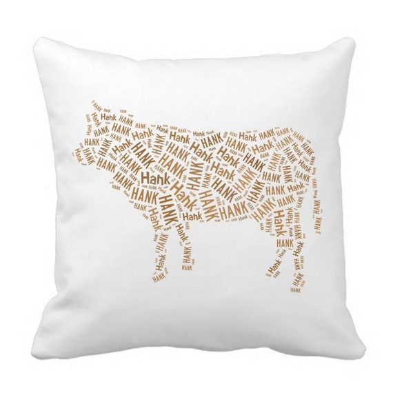Throw Pillow Covers 20 X 20 : Personalized 20 x 20 Cow Throw Pillow Cover Room Decor