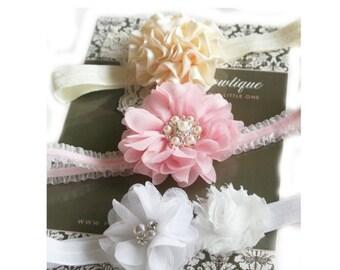 SALE Set of Baby Headbands- Gift Set Headbands- Baby Girl Headbands - Baby Shower - Pink Cream White Headbands