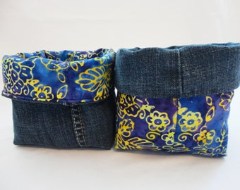 Fabric Organizer, Fabric Basket, Storage Basket: Blue & Purple Batik
