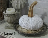 Vintage WHITE Chenille Pumpkin with REAL STEM