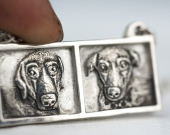 Pet Portrait Custom Necklace Dog Portrait Picture Sterling Silver Pendant