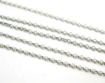 Rhodium Plated over 925 Sterling silver Rolo Chain- Unfinished  Bulk Chain - 1mm Rolo Chain  ( 10 feet ) -SKU: 101016RH