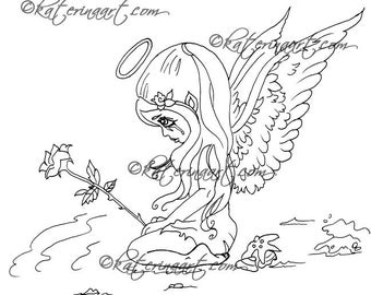 Little Angel Sea of Tears INSTANT DOWNLOAD Digi Stamps Coloring Page By Katerina Art