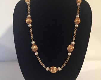 Vintage Gold Toned Beaded and Chain Necklace Party Matinee Length Flapper Inspired