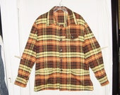 Vintage 60s 70s Mans Orange Yellow Brown Plaid CPO Jacket Handmade XL Flannel Finish