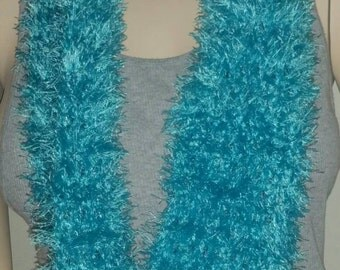 Turquoise Crochet Eyelash Cowl