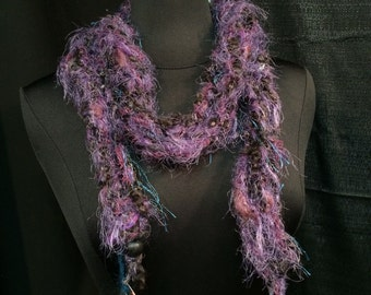 Necklace Lariat Scarf Skinny Thin Scarflet Purple Glass Beads Soft Black Grey Colors Textured Long Hand Knit Soft Multiple Exotic Yarn