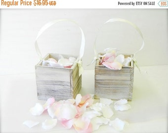 20% off ends 5pm today Flower Girl Basket  + White Distressed Flower girl basket