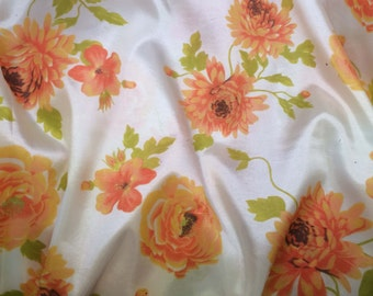 Orange Floral - Faux Silk Taffeta Fabric - fat 1/4