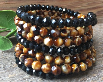 Stacked/Wrap Bracelet in Browns and Blacks