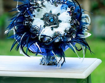 SALE Wedding bouquet  with feathers and blings GEORGINA crystals rhinestones Large Size
