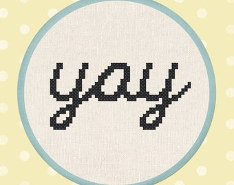 Lowercase Cursive yay. Cross Stitch PDF Pattern Instant Download