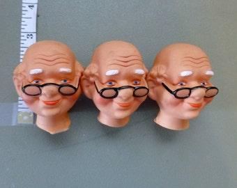 Doll Head Old Man Santa Grandpa Bald Painted Face Craft Destash Vintage Craft Supplies Set Hard Plastic